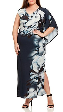 50eefcd5015e Live Unlimited - Blurred floral border maxi dress