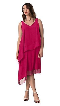 d250fd6dab2c Live Unlimited - Raspberry chiffon border overlay dress