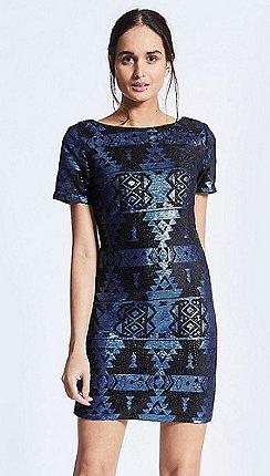 10c770851d4e ANGELEYE - Cobalt blue and black aztec sequin short shift dress