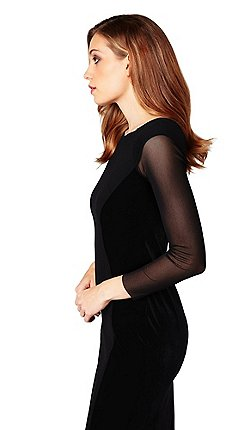 9b96c2f6480 James Lakeland - Black velvet tulle long sleeve bodycon dress